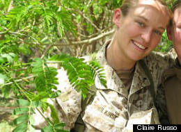 Claire Russo, 32, in a courtyard in Fallujah, Iraq, in 2006, when she served as the targeting officer for the 1st Marine Expeditionary Force. She deployed two weeks after testifying at Douglas Alan Dowson's discharge hearing -- he was already in prison.