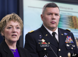 Former Principal Director for Military Personnel Policy Maj. Gen. Gary Patton (right) at a news conference Feb. 9, 2012, discusses the results of the Defense Department's Women in Service Review. Defense announced Patton as the new director of SAPRO in June. (AP Photo/Manuel Balce Ceneta)
