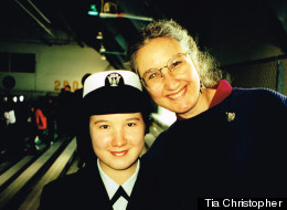 Tia Christopher, 30 (pictured at 18), and her mother, Joleen, at Tia's boot camp graduation in December of 2000.